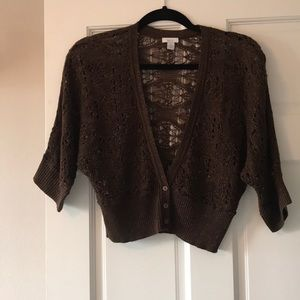 Crocheted brown sweater